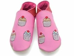 soft leather baby shoes, cupcakes in candy pink