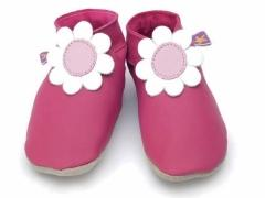 soft leather baby shoes, daisy  in fuchsia