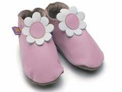 Soft leather baby shoes daisy in baby pink