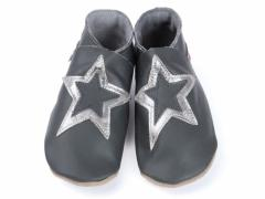 soft leather baby shoes, double star design on grey shoes.