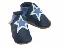 soft leather baby shoes, double star design on navy shoes.