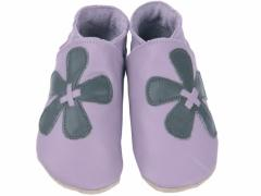 Soft leather baby shoes, Elle flower in grey , on mauve shoes.