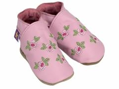 Soft leather baby shoes, embroided pink roses with green petals design on baby pink shoes.