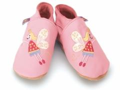 Soft leather baby shoes. Embroidered flying Fairys on baby pink shoes.