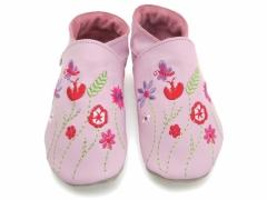 Soft leather baby shoes, embroidered Garden design meadow flowers and butterfly on baby  pink shoes.