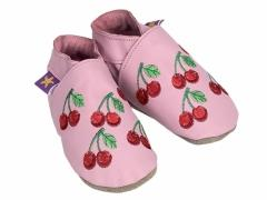 Soft leather baby shoes, embroidered red cherries design on baby pink shoes.