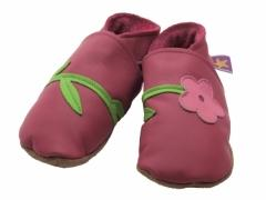 soft leather baby shoes, Fleur flowers in fuchsia