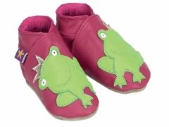 Soft leather baby shoes, Frog prince with crown on fuchsia shoes.