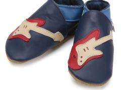 soft leather baby shoes guitar navy