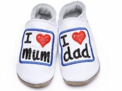 soft leather baby shoes I love mum and dad