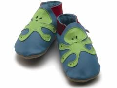 soft leather baby shoes in blue with lime green octopus design