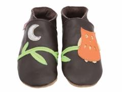 soft leather baby shoes in chocolate with Owl and moon design.