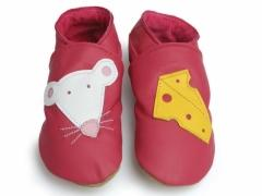 soft leather baby shoes in Fuchsia with Minnie mouse and cheese design.