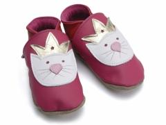 soft leather baby shoes in Fuchsia with Princess Paws cat design.
