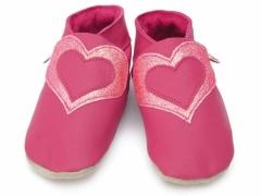 soft leather baby shoes in fuchsia with sweetheart, double heart design in fuchsia glitter.