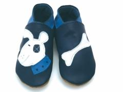 soft leather baby shoes in navy with Patch Bulldog and bone design.