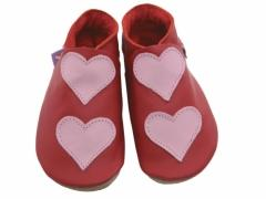 soft leather baby shoes, Lovehearts baby pink hearts on red shoes.