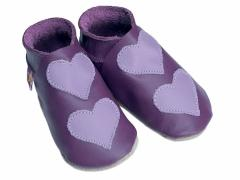 Soft leather baby shoes, Lovehearts double mauve hearts on grape shoes.