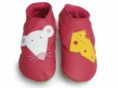 soft leather baby shoes minnie and cheese in fuchsia