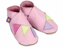 Soft leather baby shoes, Multi coloured bunting on baby pink shoes.