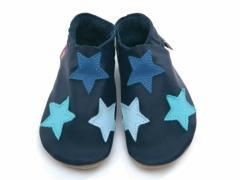 soft leather baby shoes, multi coloured stars on navy shoes.