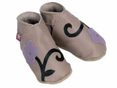 Soft leather baby shoes, Orchid flower design chocolate stem with mauve flower on taupe shoes.