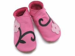 soft leather baby shoes, Orchid flowers on pink