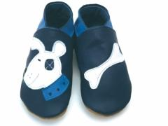 soft leather baby shoes, patch bulldog design with white bone on navy shoes.