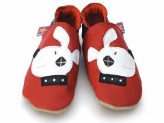 Soft leather baby shoes, Patch dog on red shoes