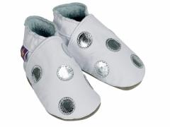 soft leather baby shoes polka dot in white and silver
