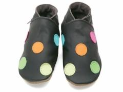 Soft leather baby shoes, Polka dots in multi colours on chocolate shoes.