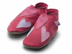 soft leather baby shoes, Queenie hearts in pink, lilac and baby pink hearts on fuchsia shoes.