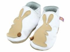 soft leather baby shoes rabbit in white and caramel