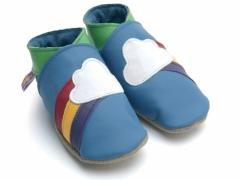 Soft leather baby shoes, Rainbow design with cloud on blue shoes.