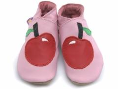 Soft leather baby shoes, Red apple design on baby pink shoes.