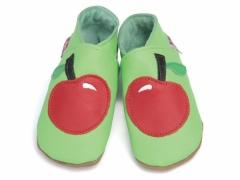 Soft leather baby shoes, Red apple design on lime shoes.