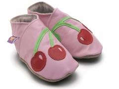Soft leather baby shoes, red cherries design on baby pink shoes.