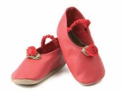 Soft leather baby shoes, red satin roses with satin leaves on red ballet style low toe shoes with elasticated strap.