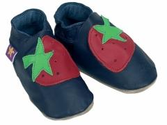 soft leather baby shoes red strawberrys on navy shoes