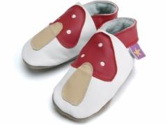 Soft leather baby shoes red toadstool on white shoes