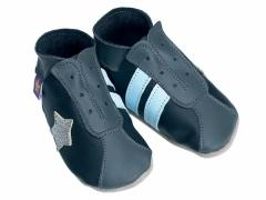 Soft leather baby shoes, retro style trainers in black and grey, with baby blue stripes and silver star.