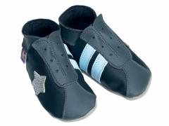 Soft leather baby shoes, retro style trainers in black and grey.