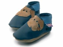 soft leather baby shoes Rover dogs on navy shoes