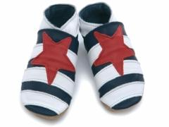 soft leather baby shoes sailor striped design in navy white and red