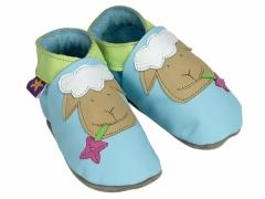 soft leather baby shoes Sheep design on baby blue
