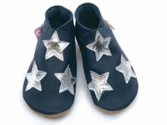 Soft leather baby shoes, silver stars on navy.