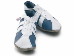 soft leather baby shoes, sporty trainer / football boot style in blue / white - Everton, Chelsea, Man city come on you blues.