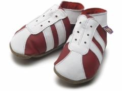soft leather baby shoes, sporty trainer / football boot style in red / white. Man United, Liverpool, Notts Forest come on you reds