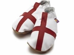 Soft leather baby shoes, St George, England flag, red cross on white shoes.