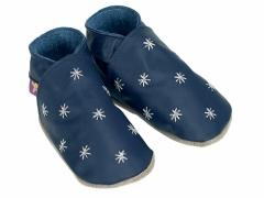 Soft leather baby shoes Starry nite silver embroided stars on navy shoes